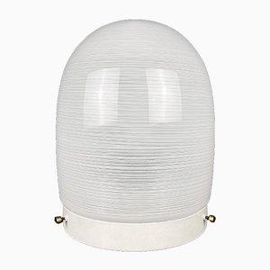 Weiße Mid-Century Glas Deckenlampe, Italien, 1970er