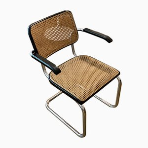Model S64 Dining Chair with Woven Cane and Black Frame by Marcel Breuer for Thonet, 1970s