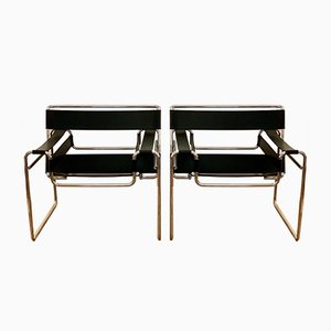 Vintage Bauhaus Wassily Armchairs by Marcel Breuer for Gavina, 1970s, Set of 2