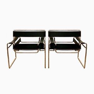 Vintage Bauhaus Wassily Armlehnstühle von Marcel Breuer für Gavina, 1970er, 2er Set