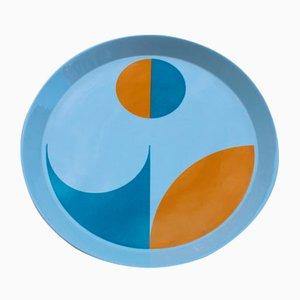 Geometrischer Teller in Blau & Orange von Gio Ponti für Franco Pozzi, 1960er