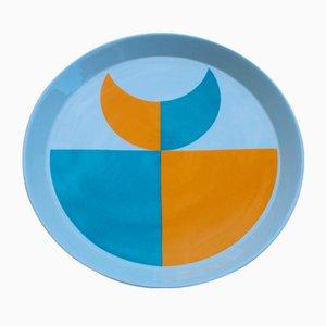 Blue & Orange Geometric Dish by Gio Ponti for Franco Pozzi, 1960s