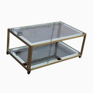 Coffee Table in Satin Brass and Mirrored Glass, 1970s