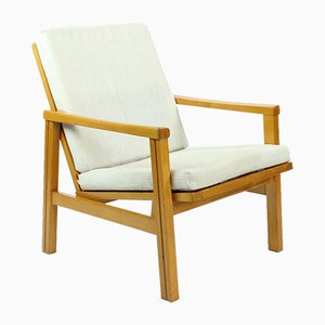 Mid-Century Armchair in Blond Wood with Linen Cushions from TON, Czechoslovakia, 1960s