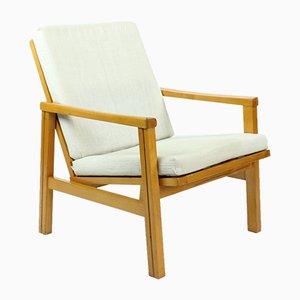 Mid-Century Sessel aus Hellem Holz mit Leinenkissen von TON, 1970er