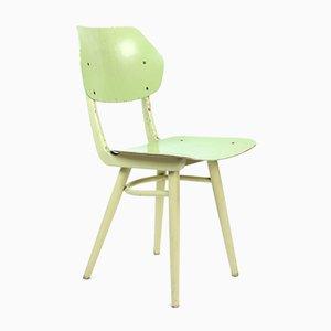 Mid-Century Stuhl in Lindgrün und Creme von Ton, Tschechoslowakei, 1960er
