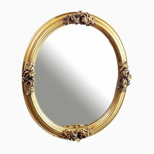 Oval Mirror with Gold Floral Decoration, 1960s