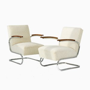 S411 Lounge Chairs by W. H. Gispen for Mücke Melder, 1930s, Set of 2