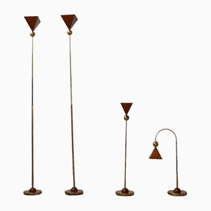 Mid-Century Italian Brass and Copper Floor or Table Lamps, Set of 4