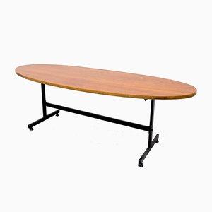 Surfboard-Shaped Teak Coffee Table, 1950s