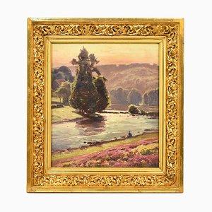 Antike Landschaftsmalerei mit Fischer von Didier Pouget, 19. Jahrhundert