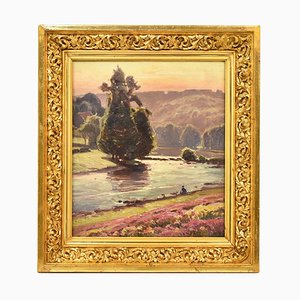 Antique Landscape Painting with Fisherman by Didier Pouget, XIX Century
