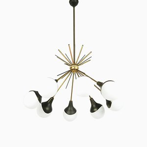 Opaline Glass, Brass & Painted Metal 8-Light Pendant Lamp Attributed to Stilnovo, 1950s