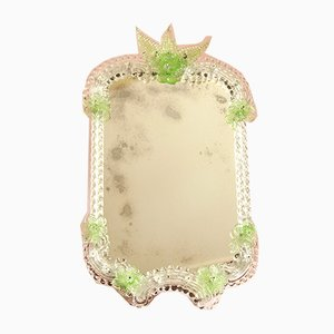 Mid-Century Murano Glass Euforbia Mirror with Green Flowers, Italy, 1950s