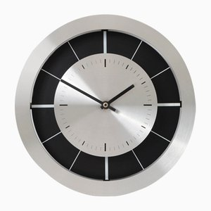 Modernist Brushed Aluminium Wall Clock from Junghans, 1970s
