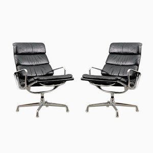 Vintage Black EA 216 Soft Pad Lounge Chairs by Charles & Ray Eames for Herman Miller, Set of 2