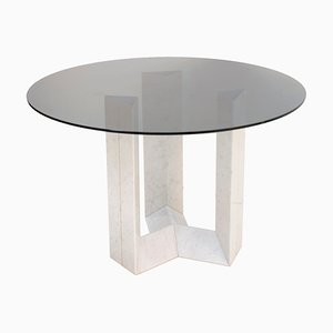 Italian Carrara Marble and Smoked Glass Table from Cattelan Italia
