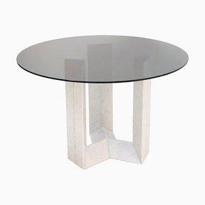 Italienischer Tisch aus Carrara Marmor & Rauchglas von Cattelan Italia