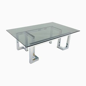 Chrome & Smoked Glass Mandarin Coffee Table by Tim Bates for Pieff