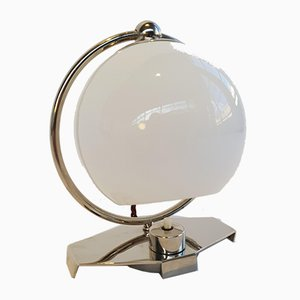 Functionalist Nickel-Plated Table Lamp in Opal Glass, 1930s