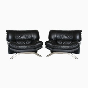 Black Leather Lounge Chairs 1980s, Set of 2