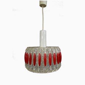 Lampe à Suspension en Plexiglas Transparent et Rouge, 1970s