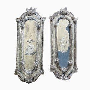 Antike Murano Glas Spiegel, 2er Set