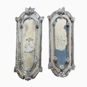 Antique Etched Murano Glass Mirrors, Set of 2