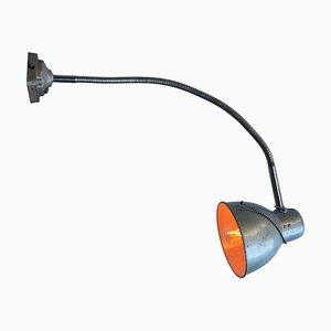 Lampe de Bureau ou Applique Murale à Col de Cygne en Métal Gris