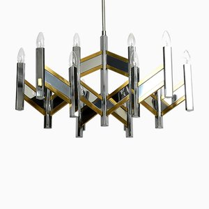 Großer Kronleuchter mit 15 Leuchten von Gaetano Sciolari, 1970er