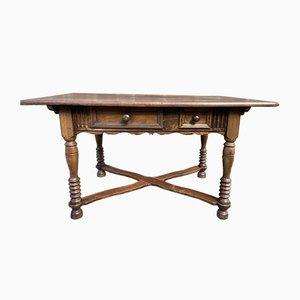 French Walnut Farmhouse Table, 1850s