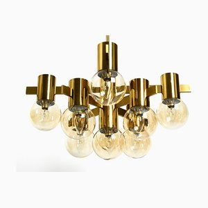 Large Brass Ceiling Lamp with 9 Glass Balls by Hans Agne Jakobsson, 1960s