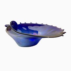 Bol en Forme de Coquillage en Verre de Murano Bleu, Italie, 1960s