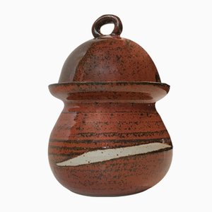 Scandinavian Modern Glazed Jam Jar in Stoneware, 1970s