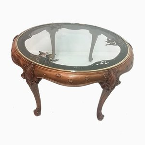 Circular Center Table in Walnut with Painted Glass Top, 1950s