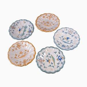Assiettes Moustier Majolica Peintes à la Main, 1700s, Set de 5