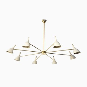 Large Modern Hinged Brass Chandelier, 1950s