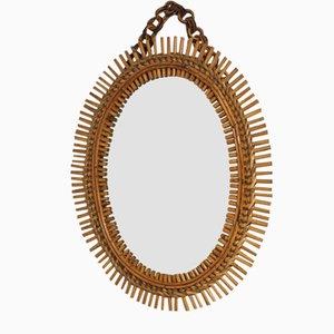 Vintage Rattan Sun Mirror, Italy, 1950s
