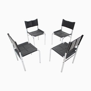 Chrome Dining Chairs by Viliam Chlebo, Czechoslovakia, 1980s, Set of 4