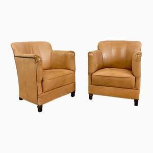 Vintage Light Brown Sheep Leather Armchairs, Set of 2