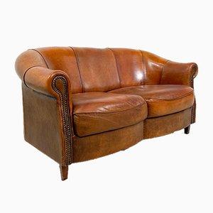 Vintage Schafs 2-Sitzer Ledersofa von Joris