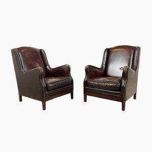 Vintage Dark Brown Sheep Leather Armchairs, Set of 2