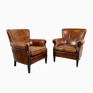 Vintage Sheep Leather Armchairs from Loung Atelier, Set of 2