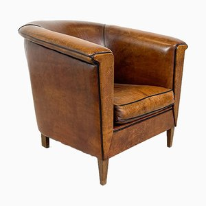 Vintage Sheep Leather Tub Club Chair from Lounge Atelier