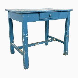 Blauer bemalter Vintage Bauerntisch