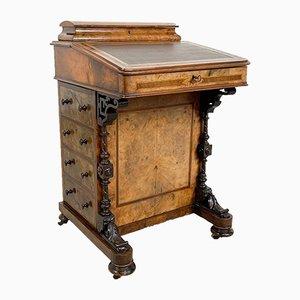 Antiker Walnuss Furnier Davenport Schreibtisch
