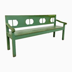 Vintage Green Painted Wooden Farmhouse Bench