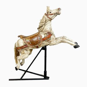 Antique Wooden Fairground Carousel Jumping Horse by Josef Hübner, Germany, 1910s
