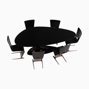 Black Dining Table and Six Chairs by Sacha Lakic for Roche Bobois, 2005