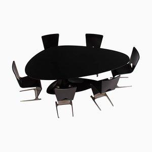 Schwarzer Esstisch und Sechs Stühle von Sacha Lakic für Roche Bobois, 2005
